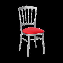 Chaise Napoléon argentée en bois avec galette rouge