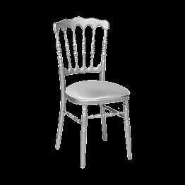 Chaise Napoléon argentée en bois avec galette gris argentée
