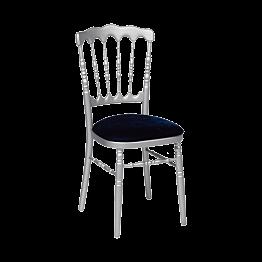 Chaise Napoléon argentée en bois avec galette velours bleue