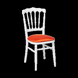 Chaise Napoléon blanche en bois avec galette orange