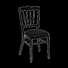 Chaise Napoléon noire en aluminium avec galette noire