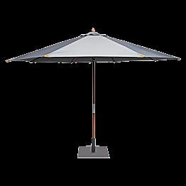 Parasol rond smoke Ø 350 cm avec pied carré 60 x 60 cm