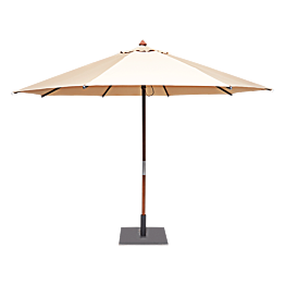 Parasol rond sable Ø 350cm avec pied carré 60x60cm