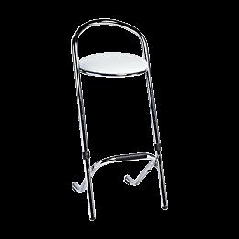 Tabouret en chrome, assise en skaï blanc H 80 cm