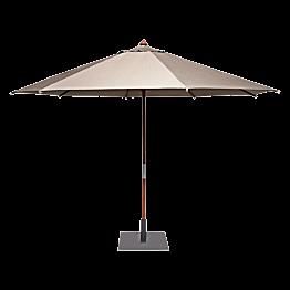 Parasol rond taupe Ø 350cm  avec pied carré 60x60cm