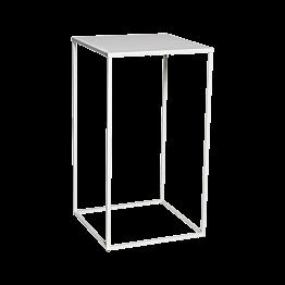 Table haute Quadra blanche démontable 60 x 60 x H 108 cm