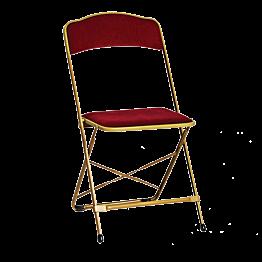 Chaise pliante dorée - velours rouge