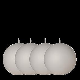 Lot de 4 bougies boule blanche Ø 10 cm